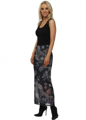 Simone Black Sensual Sequin Floral Maxi Skirt