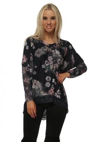 Star Black Sensual Sequin Floral Lace Trim Top