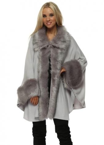 Luxurious Grey Faux Fur Cape Coat
