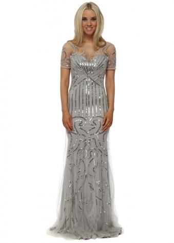Silver Sequinned Mesh Short Sleeved Evening Dress