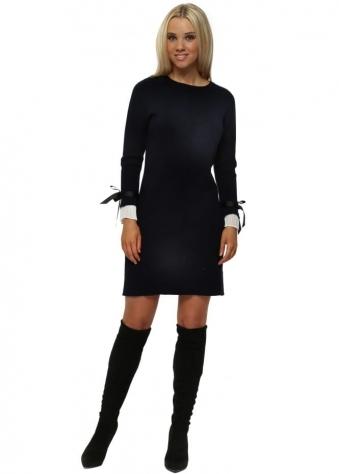 Navy Contrast Pleated Cuffs Midi Jumper Dress