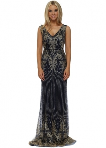 Navy Blue & Gold Glitter Sequins Fishtail Evening Dress
