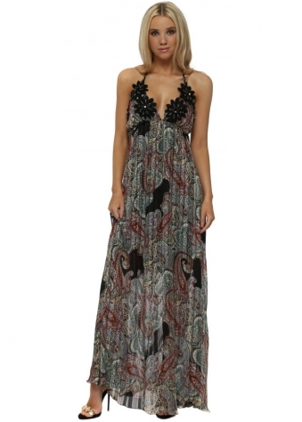 Blue & Black Paisley Print Crystal Black Flower Maxi Dress