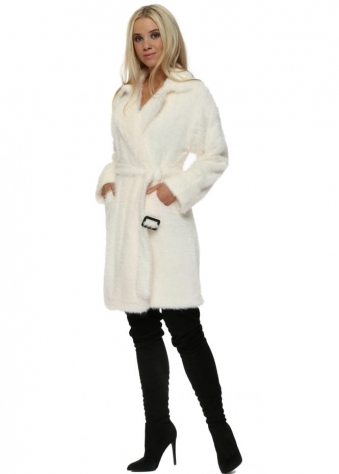 Luxury Cream Mink Faux Fur Long Belted Coat