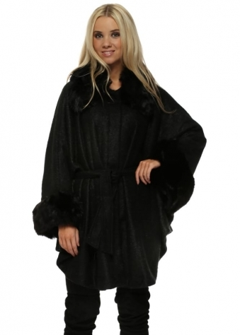 Luxury Black Soft Touch Faux Fur Cape Coat