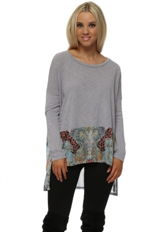 Priscilla Patcha Slub Knit Sweater In Dim Grey