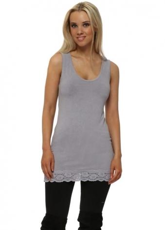 Suzy Lace Border Vest In Dim Grey