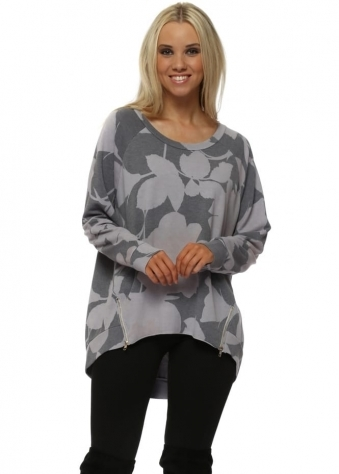 Brittany Blooming Lovely Zip Sweater In Dim Grey
