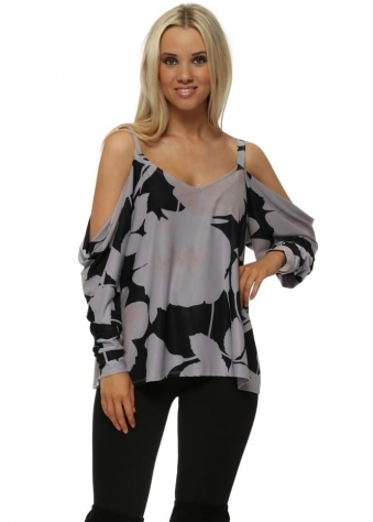 Becky Dim Grey Blooming Lovely Cold Shoulder Top