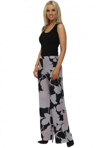 Beth Dim Grey Blooming Lovely Palazzo Pants