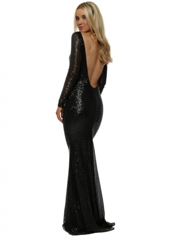 Stephanie Pratt Open Back Black Sequin Fishtail Maxi Dress