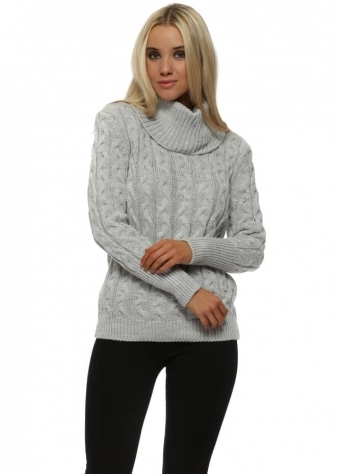 Light Grey Roll Neck Cable Knit Jumper