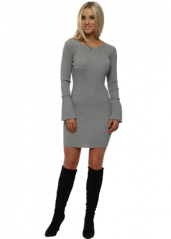 Grey Ribbed Fluted Sleeves Body Fitted Mini Dress