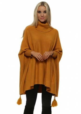 Mustard Knitted Tassel & Pearl Polo Poncho Jumper