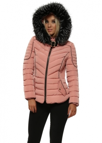 Rose Pink Faux Fur Hooded Puffer Jacket