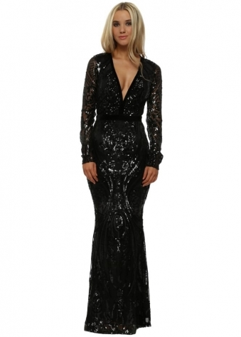 Stephanie Pratt Deep Plunge Neck Black Sequin Maxi Dress