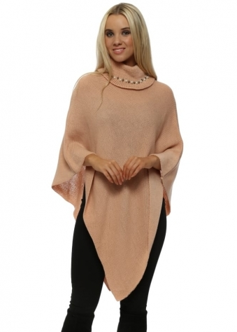 Salmon Pink Pearl Embellished Polo Neck Poncho