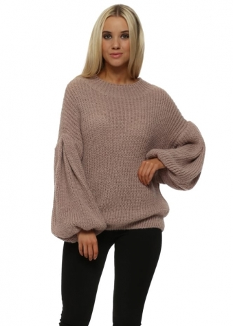 Rose Pink Chunky Knit Balloon Sleeved Jumper