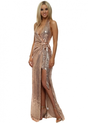 Stephanie Pratt Gold Halter Neck Split Front Maxi Dress