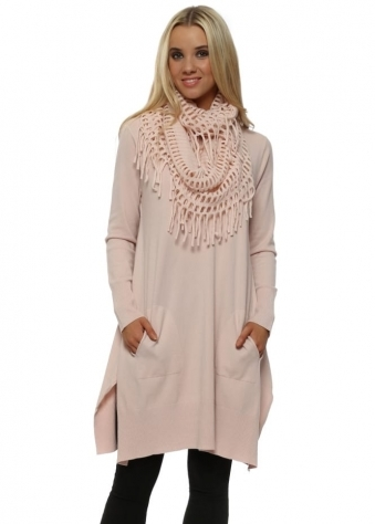 Baby Pink Soft Knit Tassel Scarf Jumper Dress