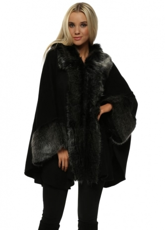 Luxurious Black With Grey Faux Fur Cape Coat