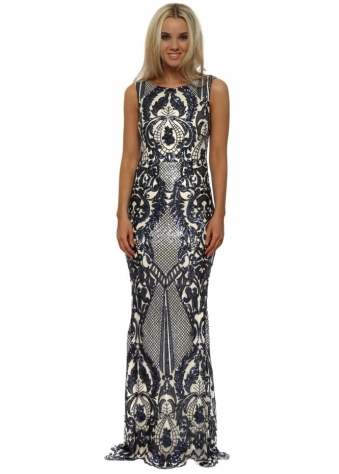 Blue Brocade Print Sequinned Maxi Dress