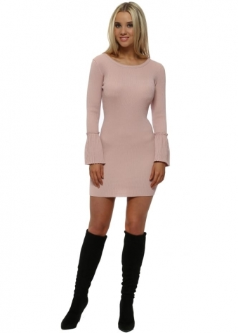 Baby Pink Ribbed Fluted Sleeves Body Fitted Dress