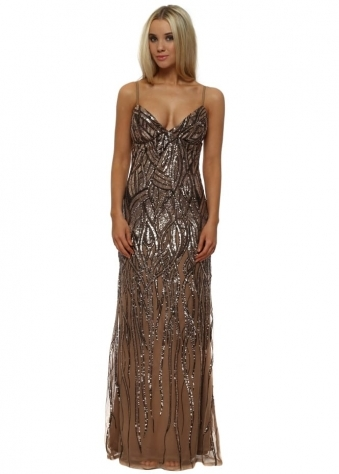 Rose Gold Sequinned Strappy Maxi Dress
