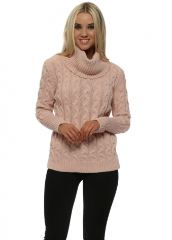 Rose Pink Roll Neck Cable Knit Jumper