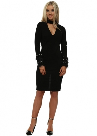 Black V Neck Choker Midi Dress With Feather & Pearl Cuffs