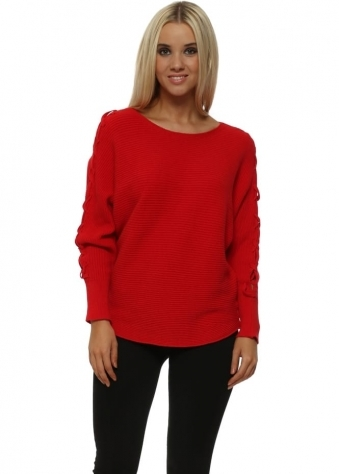 Red Ribbed Lace Up Sleeves Batwing Jumper