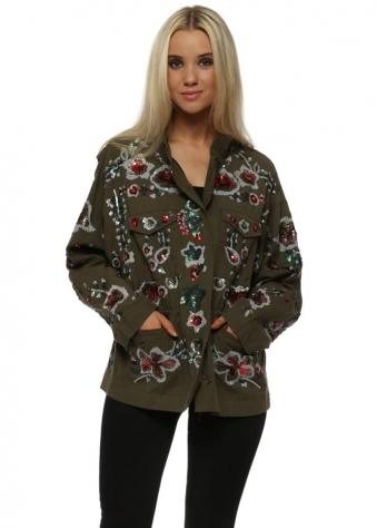 Sequin Embellished Lightweight Cotton Khaki Jacket