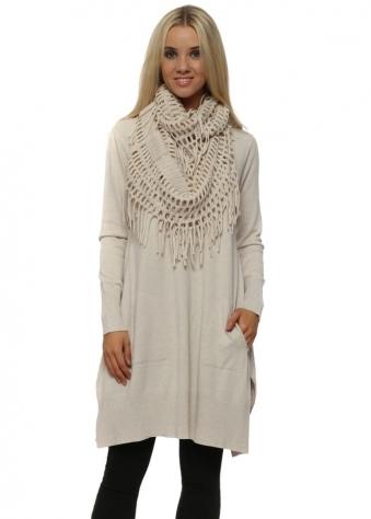Cream Soft Knit Tassel Scarf Dress