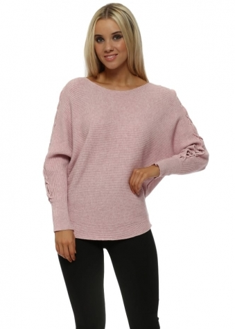 Baby Pink Ribbed Lace Up Sleeves Batwing Jumper