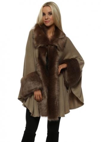 Luxurious Mocha Brown Faux Fur Cape Coat