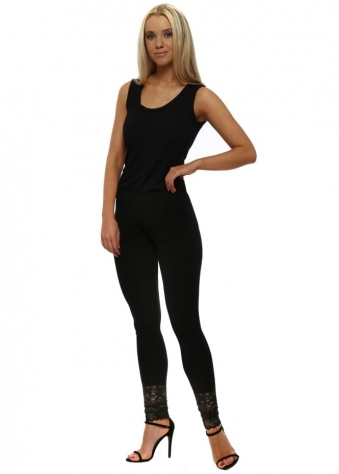 Biba Plain Black Jersey Lace Bottom Leggings