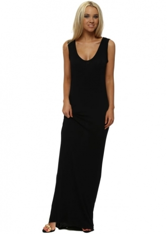 Black Jersey Sleeveless Maxi Dress