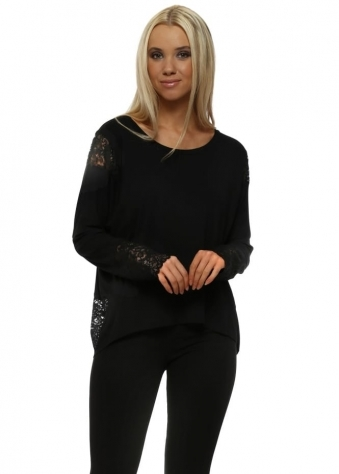 Eve Black Lace Long Sleeve Insert Karma Top