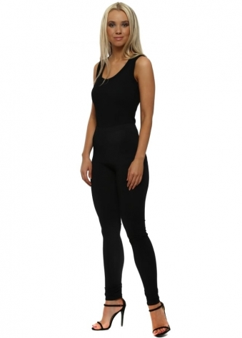 Plain Black Jersey Leggings