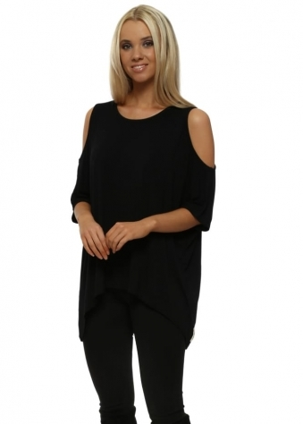 Twinnie Black Cold Shoulder Tunic Top