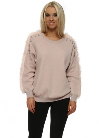Baby Pink Diamante & Faux Fur Jumper
