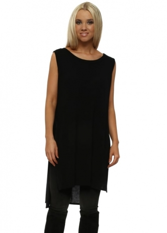 Sleeveless Flavia Black Flighty Split Sides Top