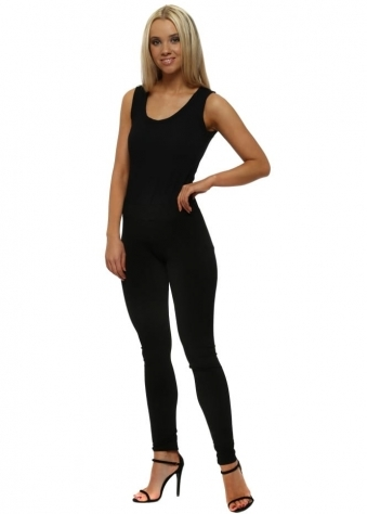 Laraine Plain Black Slinky Leggings