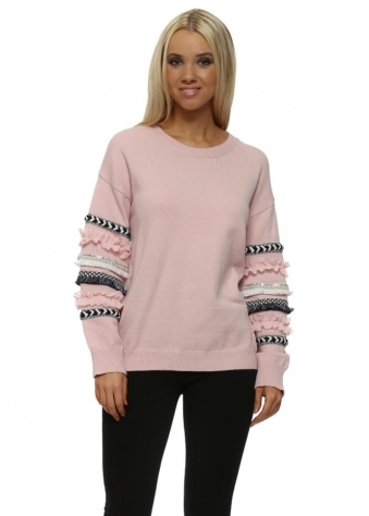 Baby Pink Aztec Ruffle Sleeve Jumper