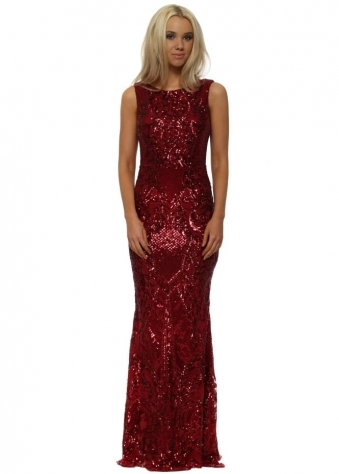 Red Brocade Print Sequinned Maxi Dress
