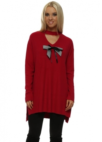 Red Dogtooth Bow Choker Jumper