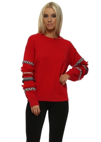Red Aztec Ruffle Sleeve Jumper