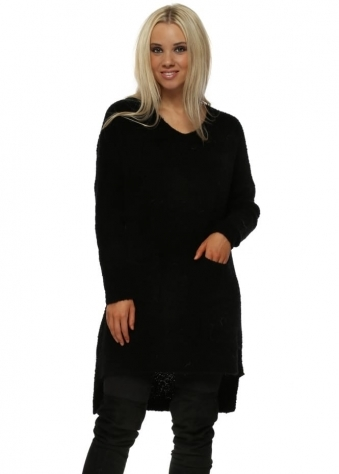 Black Fluffy Knit Pocket Oversized Jumper