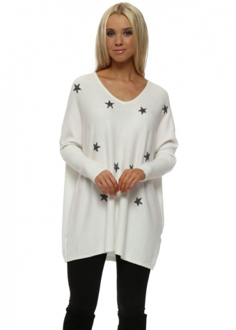 White Glitter Stars Baggy Jumper