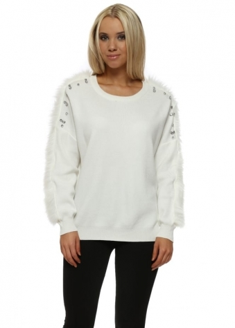 White Diamante & Faux Fur Jumper
